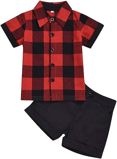 URMAGIC Baby Boys Clothes Infant Boys Plaid Camisetas de ...