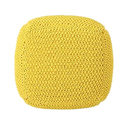 Christopher Knight Home 304789 Lucy Knitted Cotton Square Pouf, Yellow,