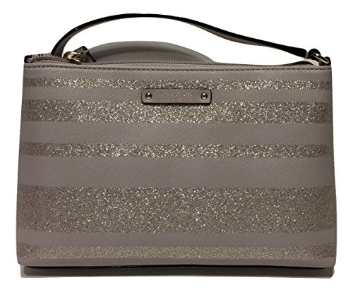 Kate Spade New York Haven Lane Ramey Crossbody Handbag (Grey Glitter Stripes) by Kate Spade New York