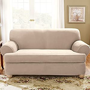 Sure Fit Stretch Suede Separate Seat T-Cushion Sofa Slipcover - Sand (SF35545)