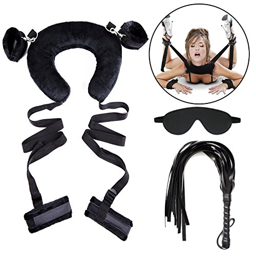 SWALLB 3Pcs BDSM Sex Toys Soft and Comfortable Pillow Restraint Set with Furry Cusion Hand and Ankle Cuffs Nylong Tie Rope Leather Mask Whip Love Game Positive or Back Bondage Strap on Adults by SWALLB