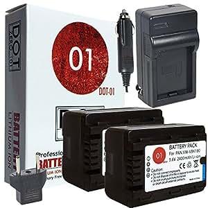 2x DOT-01 Brand 2400 mAh Replacement Panasonic VW-VBK180 Batteries and Charger for Panasonic HDC-HS60 Camcorder and Panasonic VBK180