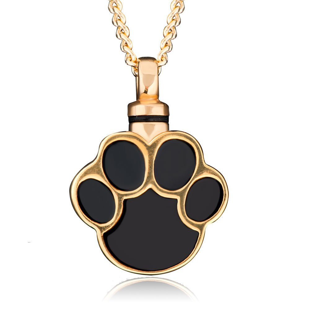 Cremation Urn Necklace Pet Dog or Cat Ashes Holder Black Paw Print Keepsake Pendant Jewelry Memorial Gift