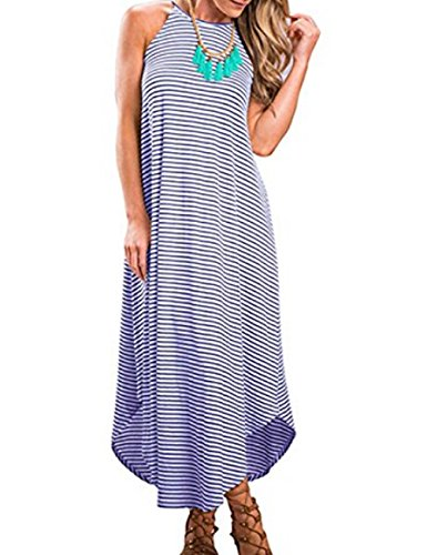Halife Women Sexy Stripe Dress Party Beach Long Casual Sundress Gown (S, Blue)