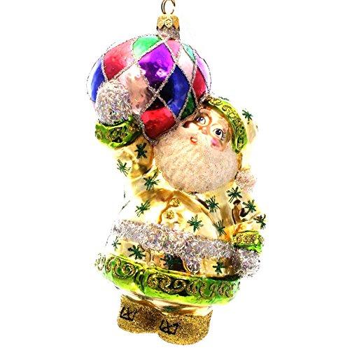Larry Fraga HARLEQUIN BALL SANTA Glass Ornament Christmas 471