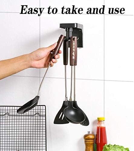 incluye 6 ganchos pala negro soporte de pared para cocina ABS soporte para utensilios de cocina soporte de gancho autoadhesivo cuchara Ganchos giratorios retr/áctiles
