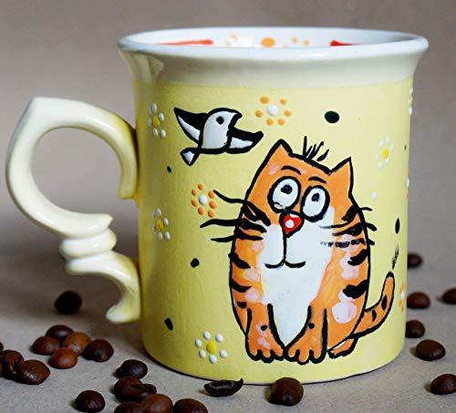 Cat mug funny, 10oz, Handmade ceramic tea cup, Cute birthday gifts for girls, Cat lover gift mug, Son mug, Stoneware mug, Coffee mug ()