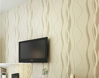 QIHANG High-grade Non-woven Flocking Simple Curve Style Wallpaper Roll Beige Color
