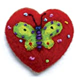 """NEEDLE FELTED BUTTERFLY DESIGN HEART SHAPED ORNAMENT 2"""""""