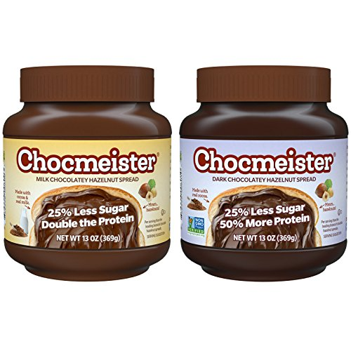 Peanut Butter & Co. Chocmeister Hazelnut Spread, Milk and Dark Chocolatey Variety Pack, 13 Ounce Jars (37 Percent Chocolates)