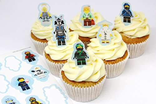 Cakeshop 12 x PRE-CUT Lego Ninjago Movie Stand Up Edible Cake Toppers