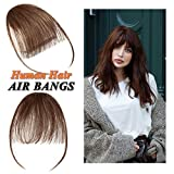 Clip in Air Bangs Human Hair Extension with Temple Thin Tied Mini Air Fringe Hair Piece Front Full Neat Air Fringe for Women One piece #04 Medium Brown