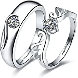 Via Mazzini 925 Silver Plated Love Birds Crystal Couple Rings For Men And Women (Ring0131)