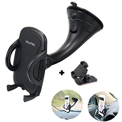 "Phone Holder Car Windshield Mount,OHLPRO 2-in-1 Universal Stick on Dash Dashboard Cradle for iPhone Samsung Sony Google All 4""- 6.4"" Smartphones"