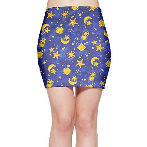 988Iron Blue Sun Moon Stars Women Popular Party Mini Skirt (Celebrity Halloween Party 2017)
