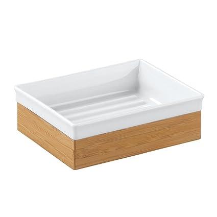 InterDesign Formbu Jabonera inoxidable | Jabonera en un look natural | Accesorios para baños en madera