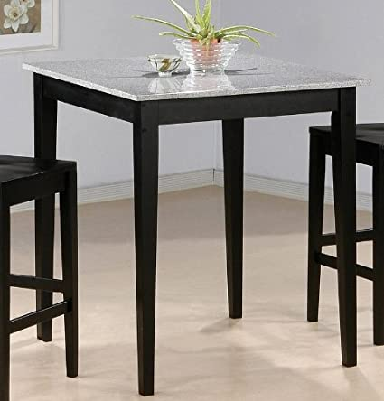 Amazon Com Bar Table With Granite Top Black Finish Kitchen Dining