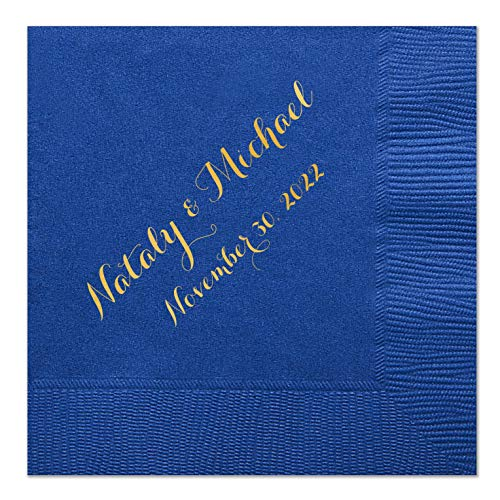 Personalized Wedding Cocktail Napkins with Bride and Grooms Names, 100 Custom Wedding Napkins]()