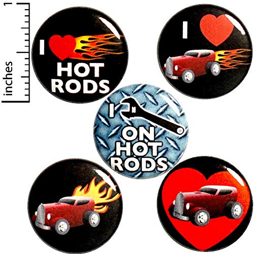 Hot Rod Button 5 Pack Jacket Backpack Pins I Love I Wrench On Hot Rods 1