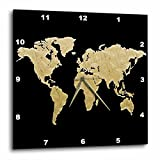 "3D Rose Gold and Black Map of The World Illustration Wall Clock, 15"" x 15"""