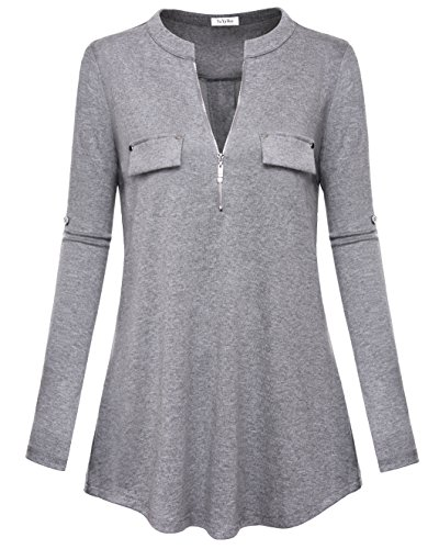 YaYa Bay Gray Blouses, Fashion V-neck Ladies Long Sleeve Blouses XX Large Grey Blouse Pullover Tunic Blouses Cuffed Sleeve Zip Shirts & Blouses Ladies Tops