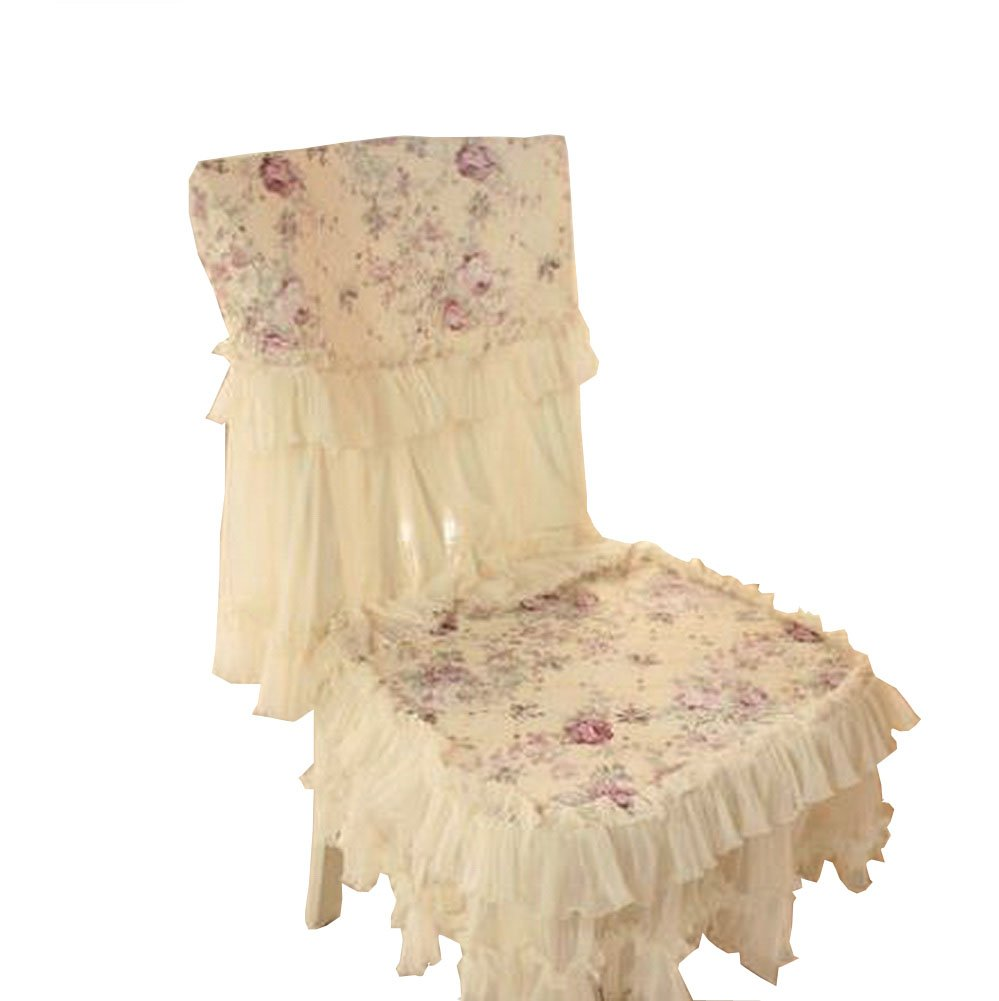 Panda Superstore Beautiful Dining Chair Slipcover Lace Country Style Romantic Cover, Beige