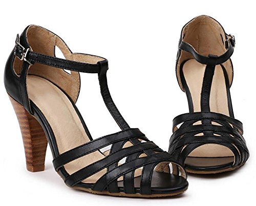SYYAN Femmes Rome Cuir Bandage Creux Bouche De Poisson Manuel Pompe Robe Des Sandales Marron , black , 40