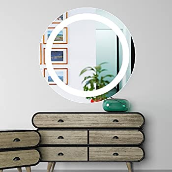 Amazon co z dimmable led lighted rectangle bathroom mirror co z dimmable round led lighted bathroom mirror modern wall mirror with dimmer and lights wall mounted fogless makeup vanity cosmetic mirror over bathroom aloadofball Choice Image