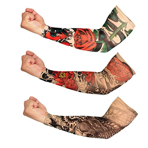 Price comparison product image Nacome 1 PC Fake Temporary Tattoo Arm Sunscreen Sleeves,Tattoo Arm Sleeves for Men Body Art Tattoo (J)