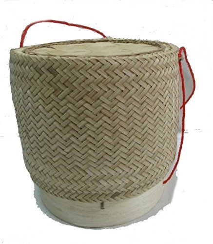 Thai Lao Handmade Sticky Rice Serving Bamboo Basket /6''x6.25'' by thai basket