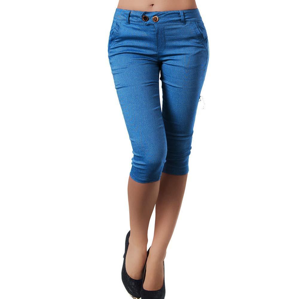 Pervobs Women Plus Size Solid Button Zipper High Waist Calf-Length Pants Trousers(S, Blue A)