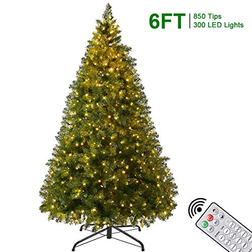 Artificial Christmas Trees - 6Ft Xmas Detachable Tree with 850 Unique Pine Spruce Tips - Fake Christmas Tree with UL Certified DIY 300 LED Lights 12 Lighting Modes for Holiday Decoration (Artificial Tree Storing Christmas)