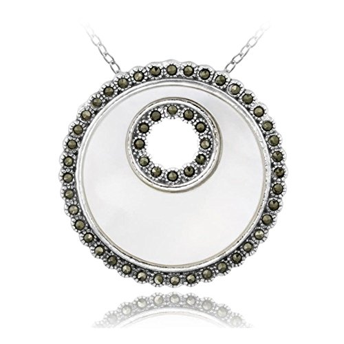 (Glitzs Jewels Sterling Silver Simulated Mother Of Pearl & Marcasite Disc Pendant)