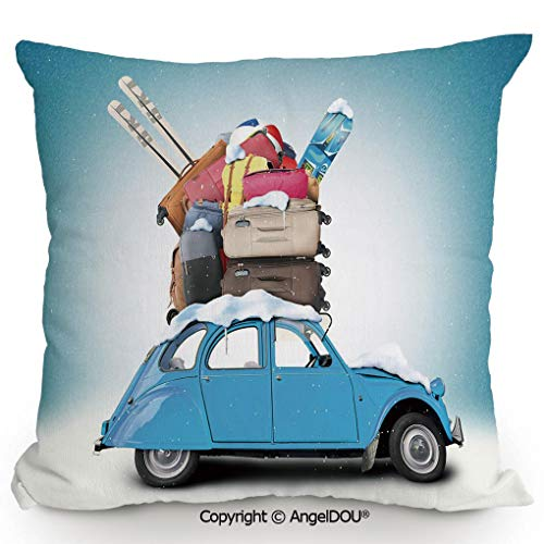 (AngelDOU Decorative Cotton Linen Pillowcase with core,Traveling Themed Snowy Image Ski Baggage Items Blue Vintage Car Holiday Photograph Decorative,Sofa Bedroom Car Eco-Friendly pill13.7x13.7 inches)
