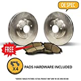 Front Kit|O-Series|Great-Choice|2 OEM Replacement Disc Brake Rotors|4 Ceramic Brake Pads with Hardware|1990 1991 1992 CHEVY CHEVROLET ASTRO VAN 4WD 4X4 AWD|5Lug-(Ships from USA)