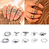 Rings Set;START 10PCS/Set Bohemian Totem Crystal Rings