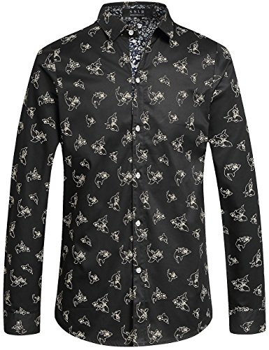 Nice SSLR Men's Shark Casual Button Down Slim Fit Long Sleeve Shirt