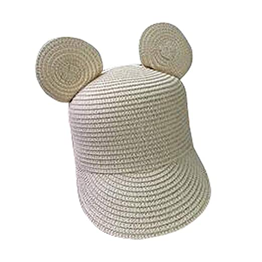 59252ff6a30ef Image Unavailable. Image not available for. Color  HomArt Kids Straw Peaked  Cap Mickey Ear Breathable Sun Protection Visor Hat
