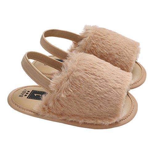 lakiolins Baby Girl Open Toe Furry Slingback Sandals Slip On Anti-Slip Beach Walking Shoes Brown Size M ()