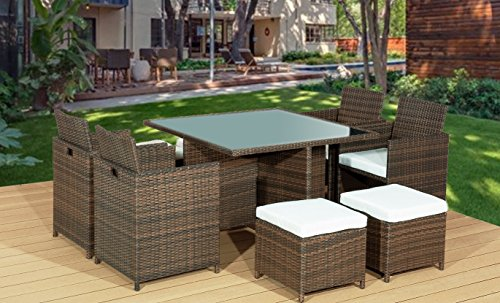 Gartenmöbel rattan set  Amazon.de: Frankfurt & Co Rattan Gartenmöbel Set 8-Sitzer Outdoor 9 ...