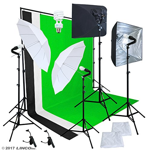 Linco Pheno Studio Lighting Studio Softbox Umbrella Reflector (3 in 1) Photography 9x10 feet Backdrop Stand Kit with 3 Color Muslin & Clamps by Linco