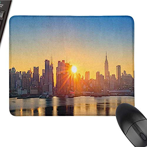 (Nonslip Rubber Base City,Tranquil Sunrise at Midtown Manhattan United States NYC Waterfront America, Pale Blue Peach Tan Black Cloth Mousepad 15.7 x23.6)
