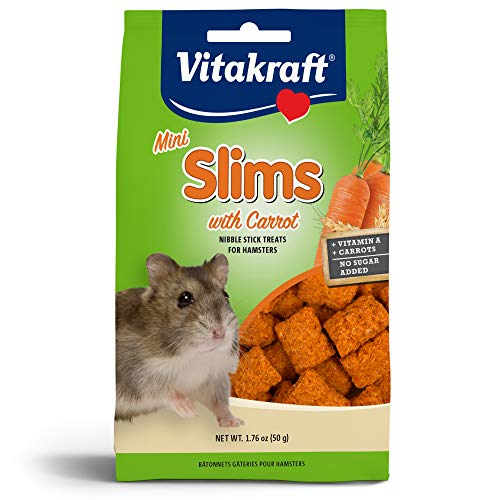 Vitakraft Hamster Mini Slims With Carrot Nibble Stick Treat, 1.76 Ounce Pouch