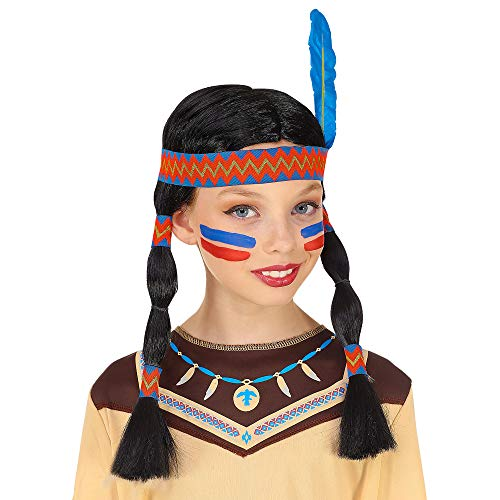 Indian Girl Wig W/Headband & Feather (in -
