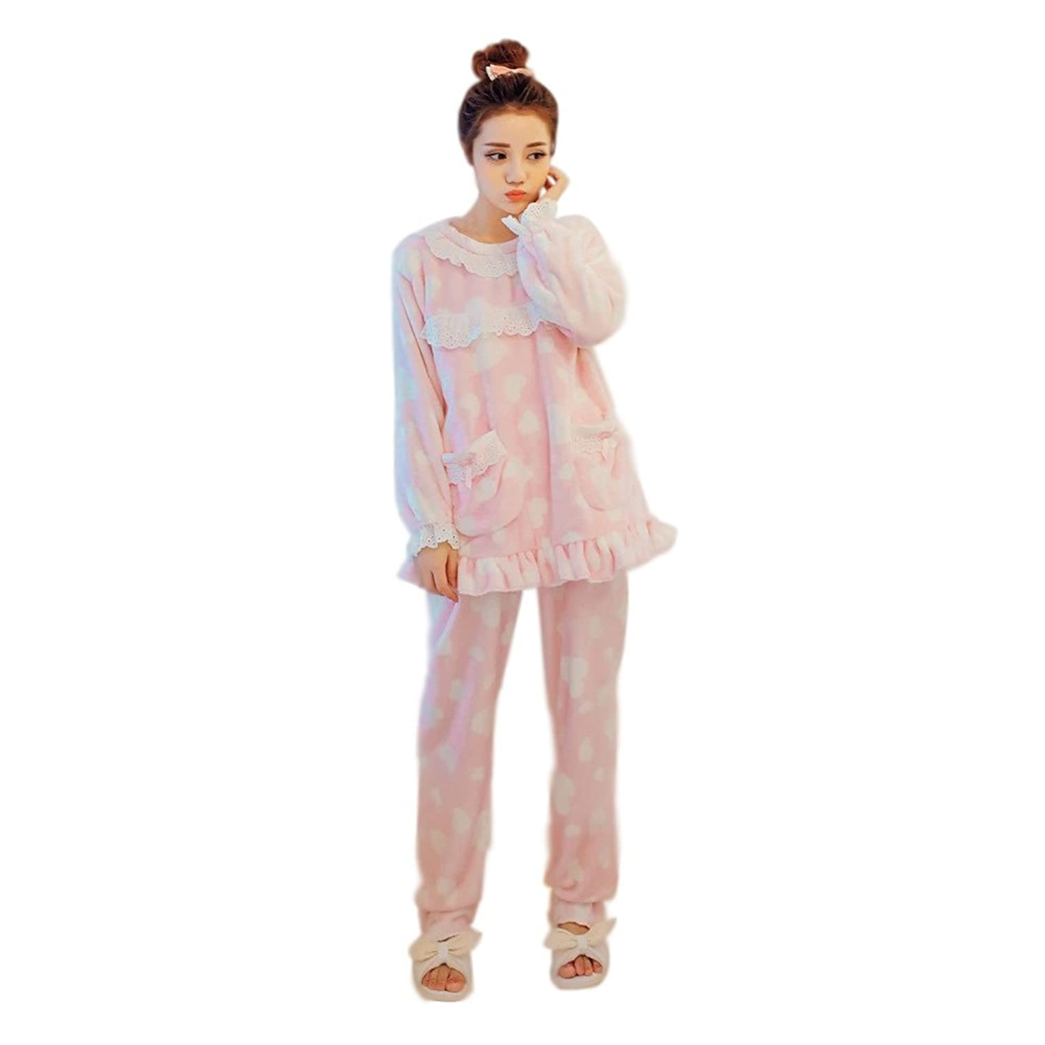 Royllent Cute Lace Coral Velvet Home Thick Pyjamas Long Sleeved Autumn and Winter Warm Suit Lovely Pyjamas for Women and Girls