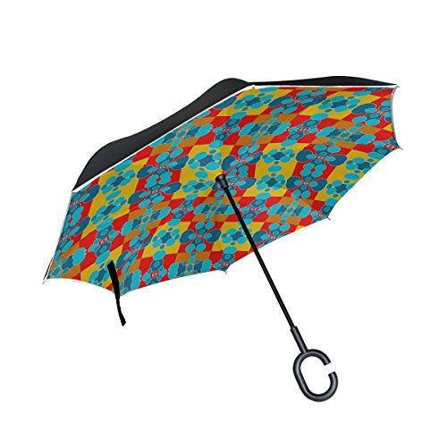 DNOVING Double Layer Inverted Pop-art Abstract Design Pattern Umbrellas Reverse Folding Umbrella Windproof Uv Protection Big Straight Umbrella For Car Rain Outdoor With C-shaped Handle