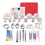 ART KITCHENWARE Sugar Flower Tools Decorating Cake Mold 12 Silicone Leaf Petal Veiner 6 Stainless Steel Fondant Cutters Veining Board Flower Foam Pad Cake Brush Frilling Sticks Modelling Tools