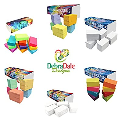 """DEBRADALE DESIGNS - Product Made Entirely in the U.S.A. - Small Blank Flash Cards - 2"""" x 3.5"""" Inches - 5 Colors - 1,100 Cards - Custom Storage Dispenser Box With Attached Lid & Velcro Brand Fastener"""