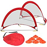 HomGarden Foldable Pop Up Soccer Goals, Set of 2 Portable Kids Toddler Soccer Nets for Backyard w/Cones & Carry Bag, Outdoor Pop-up Pick Up Game Goals (4′ Round) Review