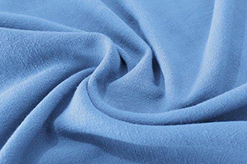 Pétales Anysize Épaules Lin Doux Et Robe De Coton Robe Taille Plus Printemps Été F125a Lumière Bleue